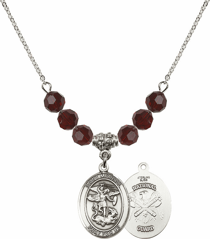 St Michael National Guard Garnet Swarovski Necklace by Bliss Mfg