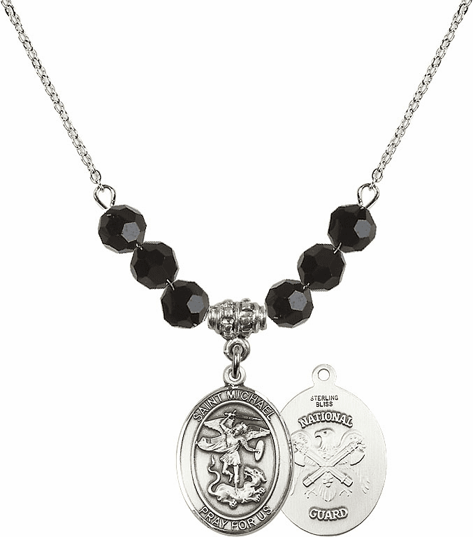 St Michael National Guard Jet Black Swarovski Necklace by Bliss Mfg