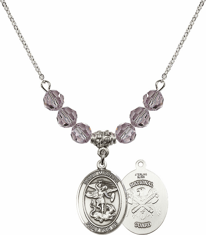 St Michael National Guard Lt Amethyst Swarovski Necklace by Bliss Mfg