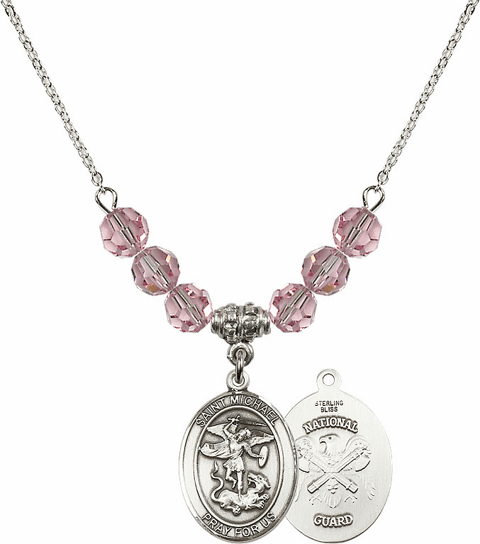 St Michael National Guard Lt Rose Swarovski Necklace by Bliss Mfg