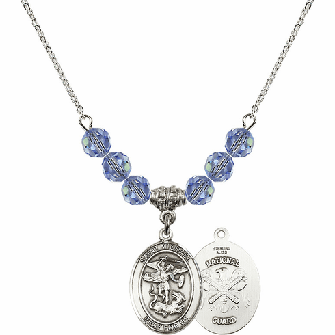 St Michael National Guard Lt Sapphire Swarovski Necklace by Bliss Mfg
