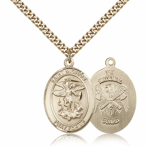 St Michael National Guard Patron Saint Gold Filled Medal