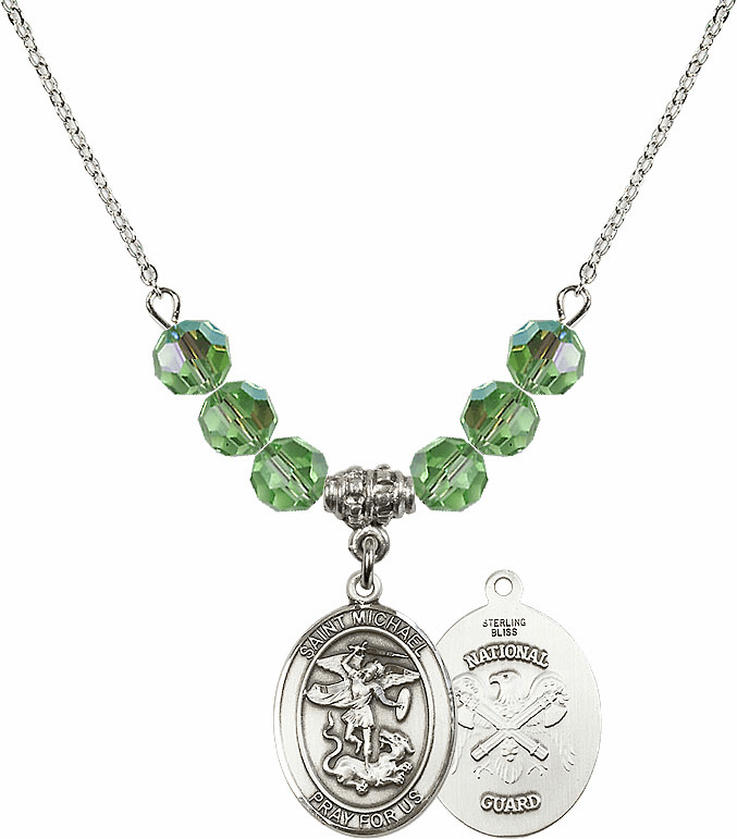 St Michael National Guard Peridot Swarovski Necklace by Bliss Mfg