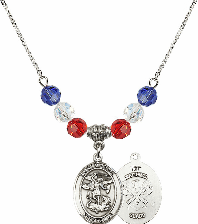 St Michael National Guard Red, White and Blue Swarovski Necklace by Bliss Mfg