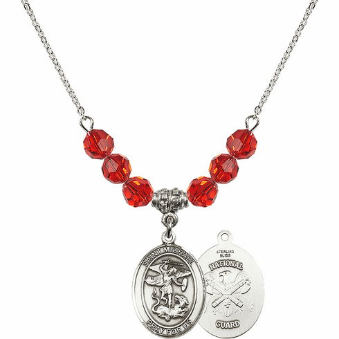 St Michael National Guard Ruby Swarovski Necklace by Bliss Mfg