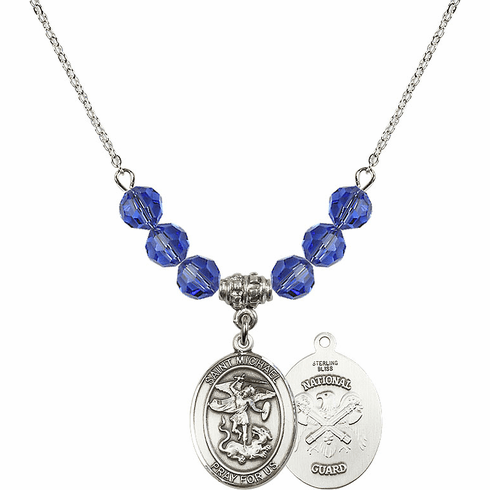 St Michael National Guard Sapphire Swarovski Necklace by Bliss Mfg