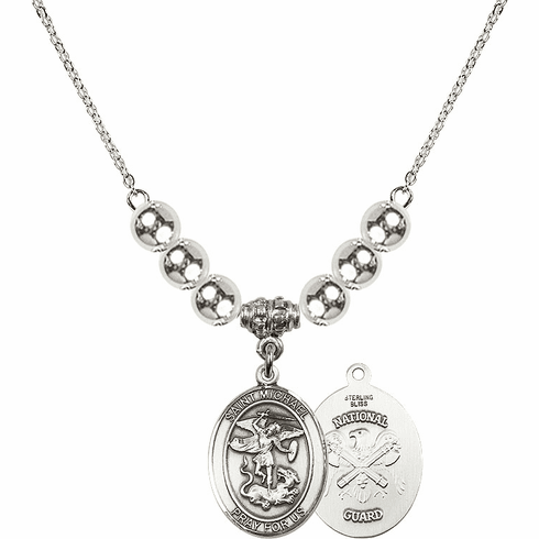 St Michael National Guard Silver Necklace by Bliss Mfg