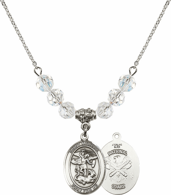 St Michael National Guard Swarovski Necklace by Bliss Mfg