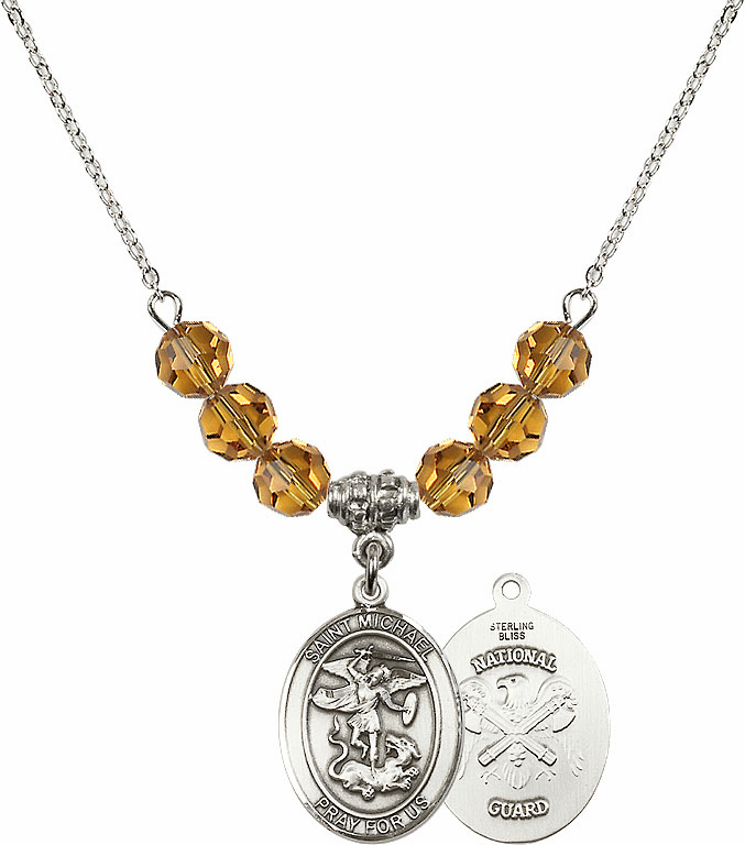 St Michael National Guard Topaz Swarovski Necklace by Bliss Mfg