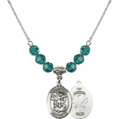 St Michael National Guard Zircon Swarovski Necklace by Bliss Mfg