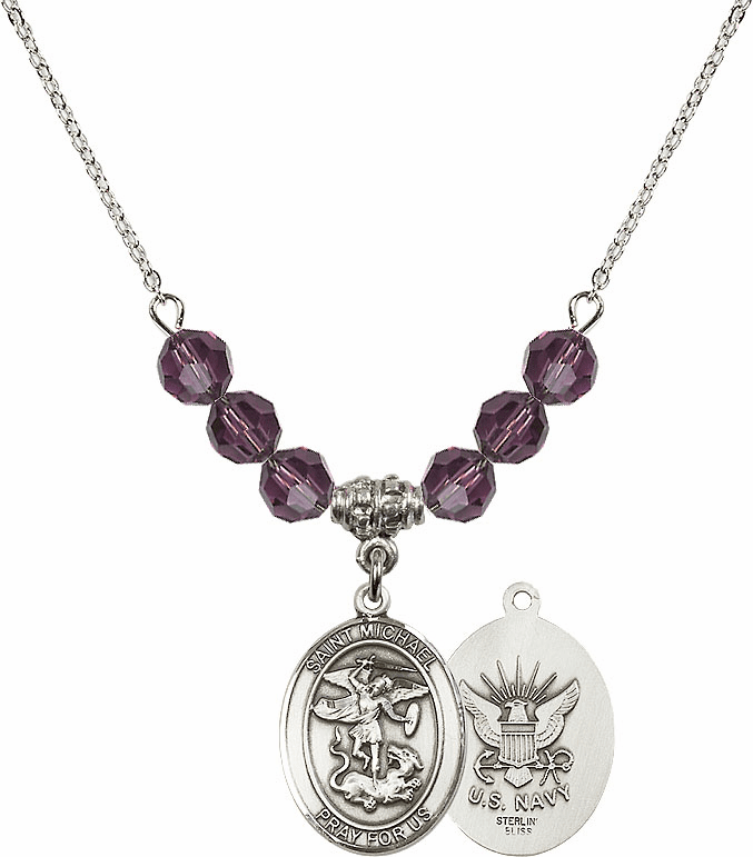 St Michael Navy Amethyst Swarovski Necklace by Bliss Mfg