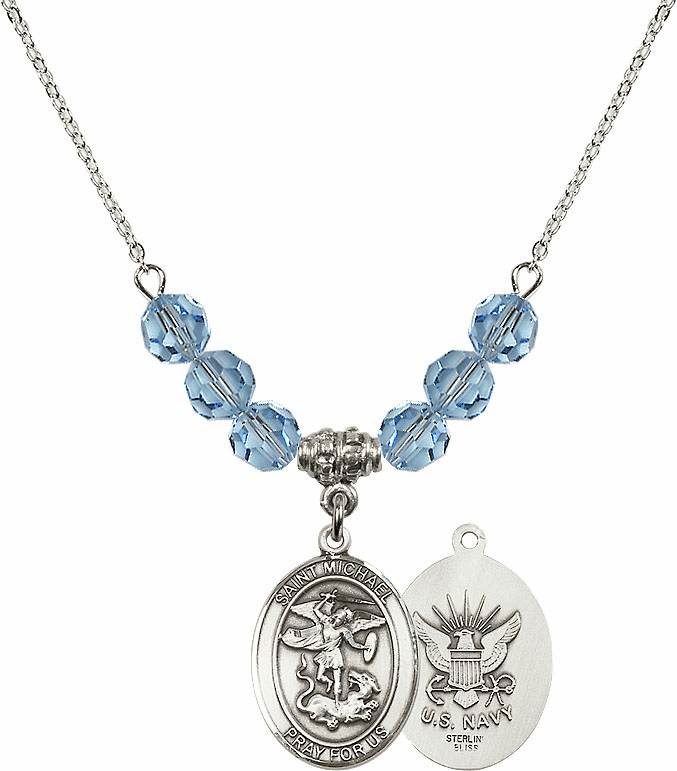 St Michael Navy Aqua Swarovski Necklace by Bliss Mfg