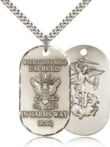 St. Michael Navy Dog Tag Necklace