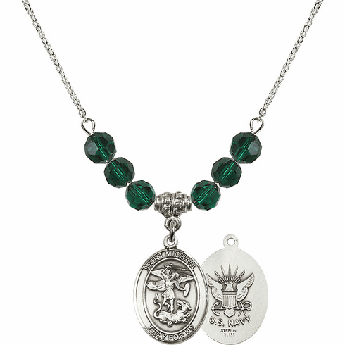 St Michael Navy Emerald Swarovski Necklace by Bliss Mfg