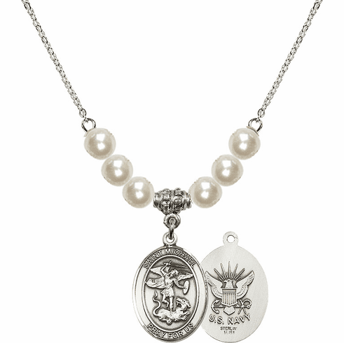 St Michael Navy Faux Pearl Necklace by Bliss Mfg