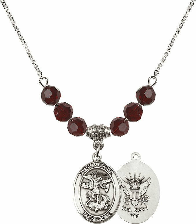 St Michael Navy Garnet Swarovski Necklace by Bliss Mfg