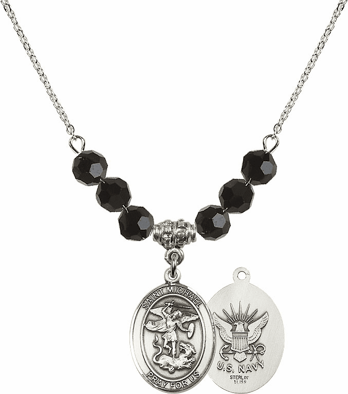 St Michael Navy Jet Black Swarovski Necklace by Bliss Mfg
