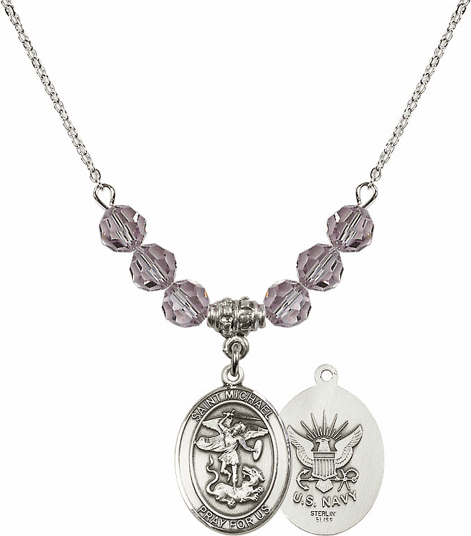 St Michael Navy Lt Amethyst Swarovski Necklace by Bliss Mfg