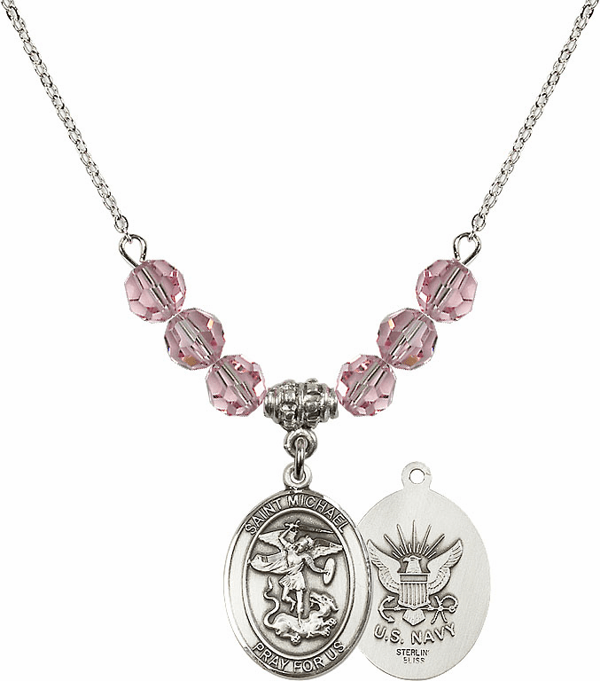 St Michael Navy Lt Rose Swarovski Necklace by Bliss Mfg