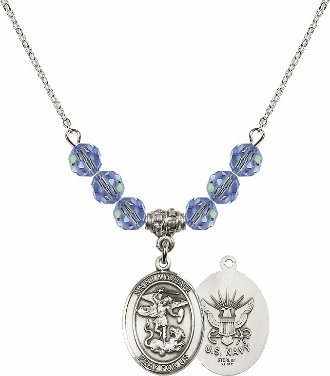 St Michael Navy Lt Sapphire Swarovski Necklace by Bliss Mfg