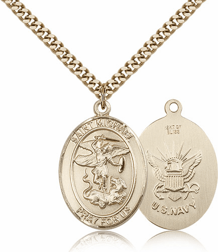 Bliss St Michael Navy Military Patron Saint Medal Necklace