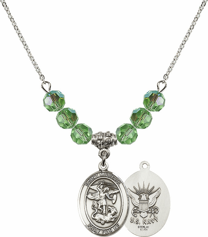 St Michael Navy Peridot Swarovski Necklace by Bliss Mfg