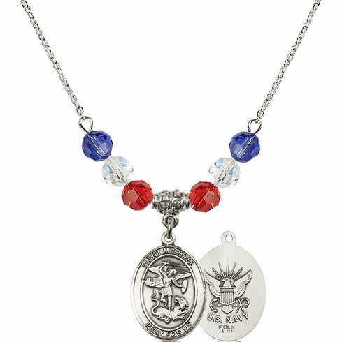 St Michael Navy Red, White and Blue Swarovski Necklace by Bliss Mfg