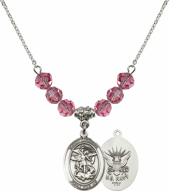 St Michael Navy Rose Swarovski Necklace by Bliss Mfg