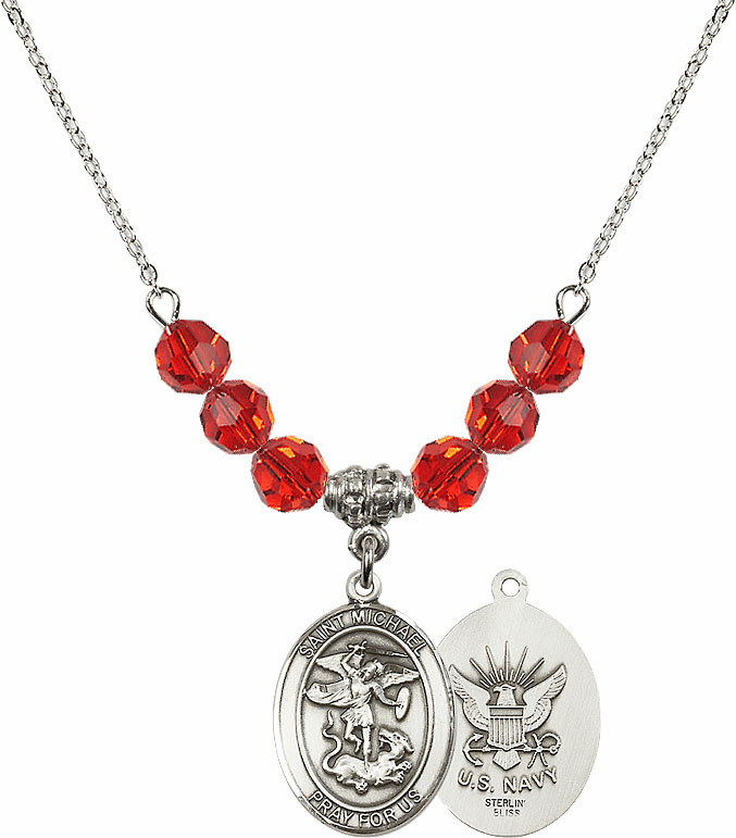 St Michael Navy Ruby Swarovski Necklace by Bliss Mfg