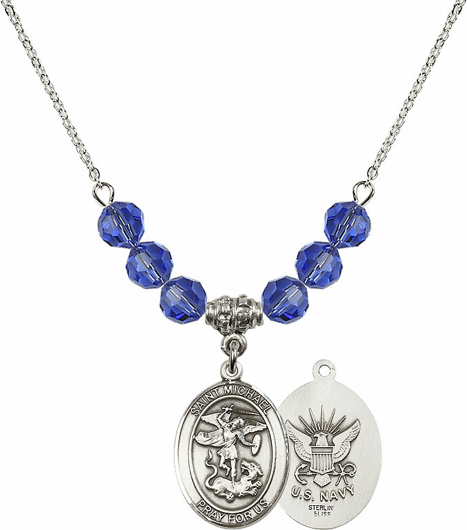 St Michael Navy Sapphire Swarovski Necklace by Bliss Mfg