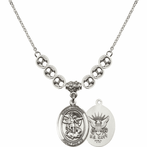 St Michael Navy Silver Necklace by Bliss Mfg
