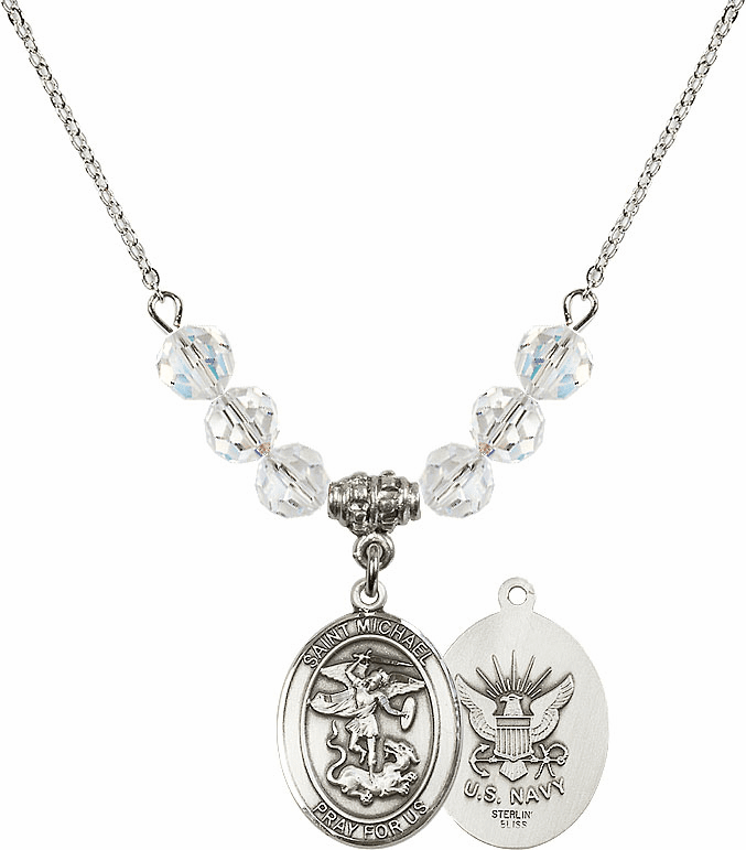 St Michael Navy Swarovski Necklace by Bliss Mfg