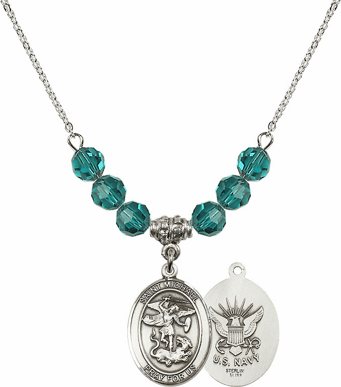 St Michael Navy Zircon Swarovski Necklace by Bliss Mfg