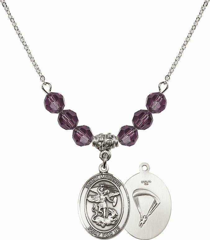St Michael Paratrooper Amethyst Swarovski Necklace by Bliss Mfg