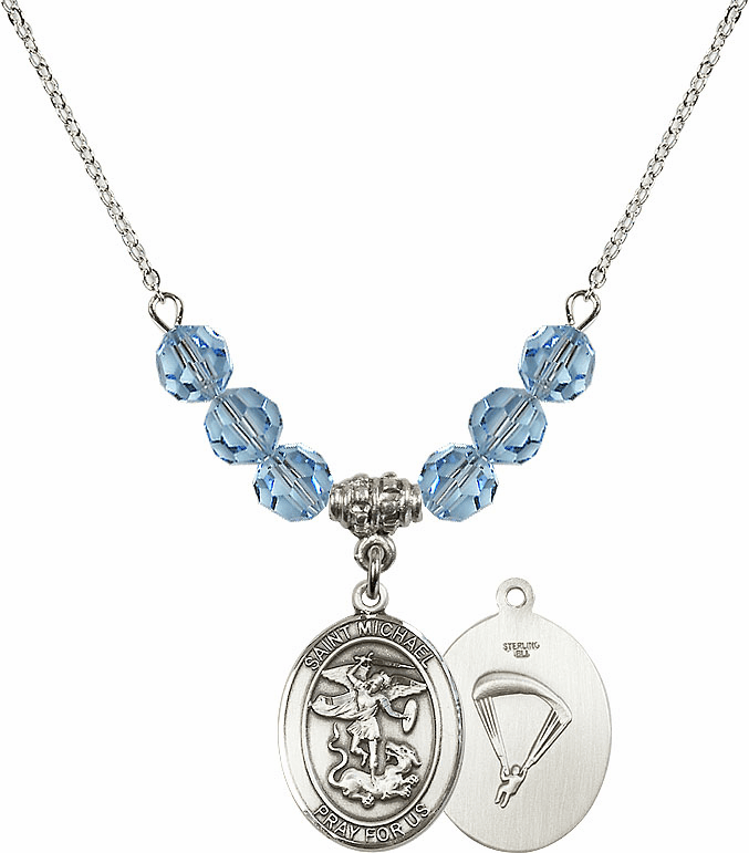 St Michael Paratrooper Aqua Swarovski Necklace by Bliss Mfg
