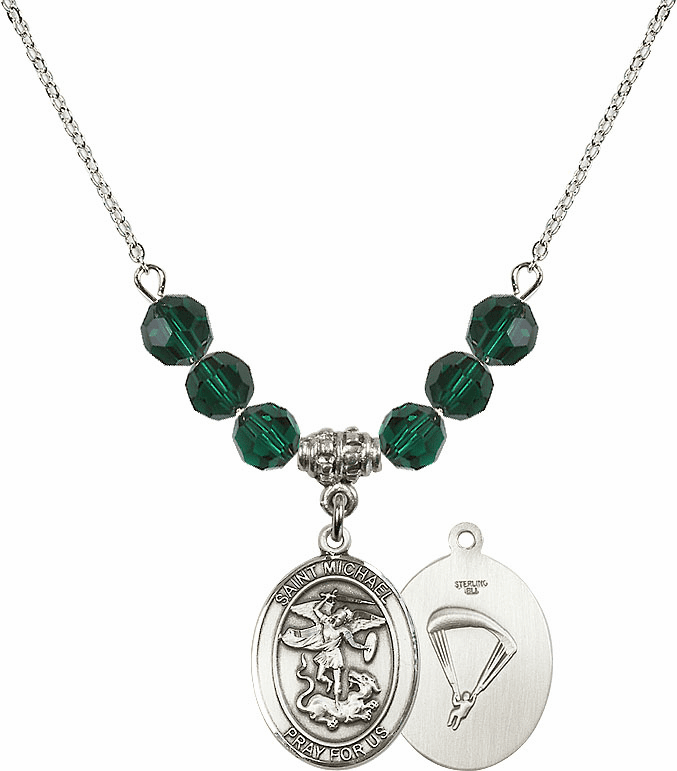 St Michael Paratrooper Emerald Swarovski Necklace by Bliss Mfg