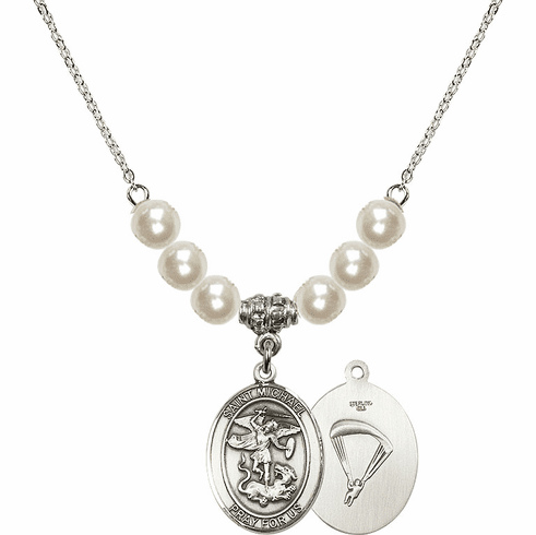St Michael Paratrooper Faux Pearl Necklace by Bliss Mfg