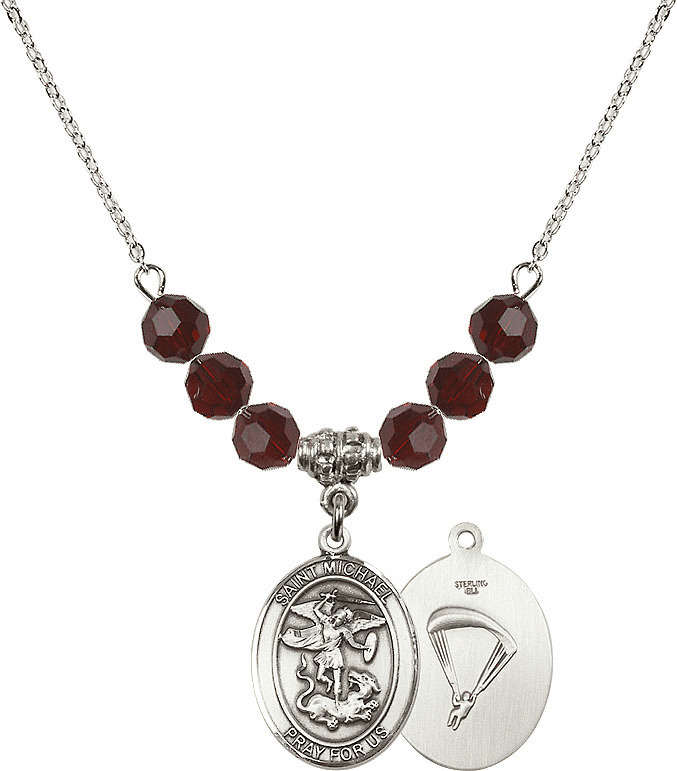 St Michael Paratrooper Garnet Swarovski Necklace by Bliss Mfg
