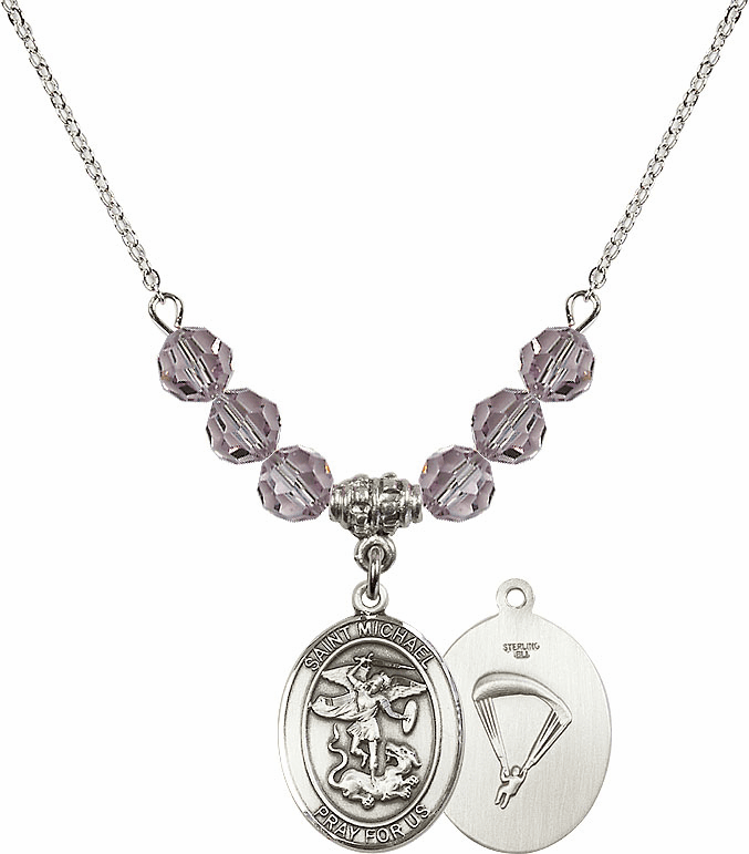 St Michael Paratrooper Lt Amethyst Swarovski Necklace by Bliss Mfg