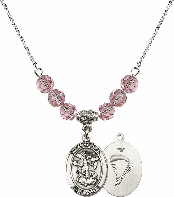 St Michael Paratrooper Lt Rose Swarovski Necklace by Bliss Mfg