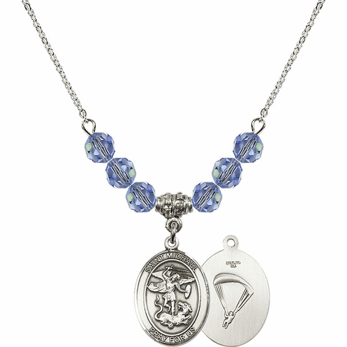 St Michael Paratrooper Lt Sapphire Swarovski Necklace by Bliss Mfg
