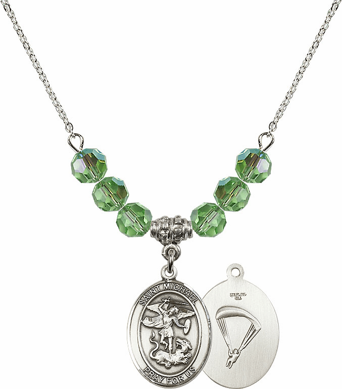 St Michael Paratrooper Peridot Swarovski Necklace by Bliss Mfg