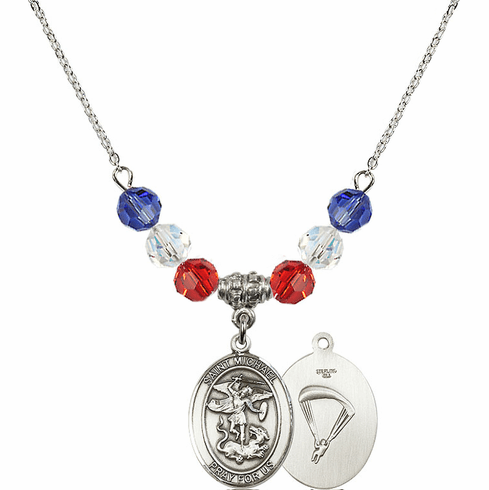 St Michael Paratrooper Red, White and Blue Swarovski Necklace by Bliss Mfg