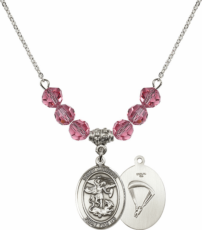 St Michael Paratrooper Rose Swarovski Necklace by Bliss Mfg