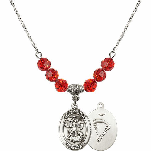 St Michael Paratrooper Ruby Swarovski Necklace by Bliss Mfg