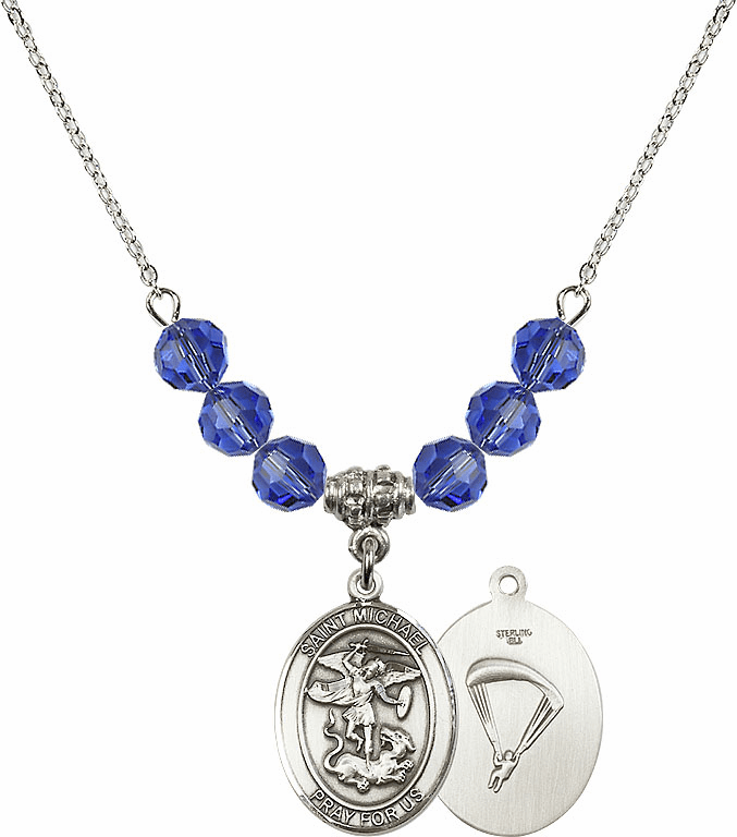 St Michael Paratrooper Sapphire Swarovski Necklace by Bliss Mfg