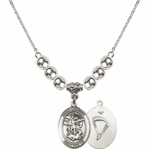 St Michael Paratrooper Silver Necklace by Bliss Mfg