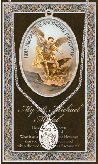 St Michael Pewter Patron Saint Medal Necklace with Prayer Pamphlet by Hirten
