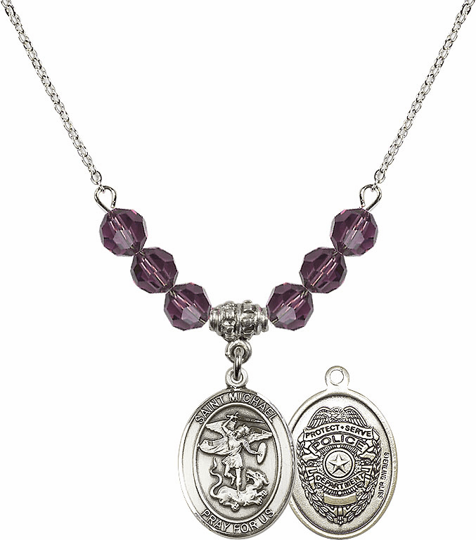 St Michael Police Amethyst Swarovski Necklace by Bliss Mfg