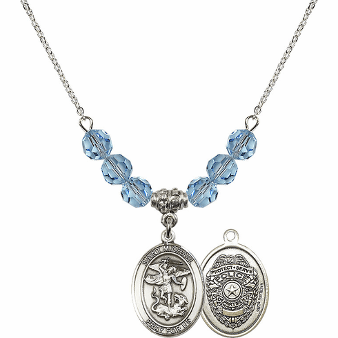 St Michael Police Aqua Swarovski Necklace by Bliss Mfg